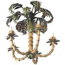 vintage palm tree frond leaf leaves chandelier metal tole palm beach