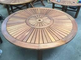 solid teak round pedestal 1 5m fixed garden table