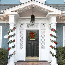 Front Door Decorating Captivating Christmas Front Door Decorating Idea With Wreath And