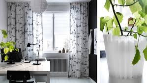 curtains for home office. pretty ikea patterned curtains on white window faces to modern home office desk for