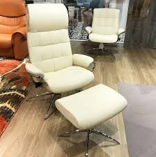 stressless london high back leather recliner and ottoman in paloma vanilla white leather by ekornes