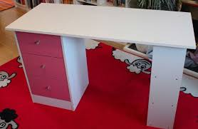 argos malibu 3 drawer desk pink on white