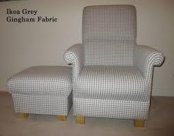 ikea grey gingham fabric chair footstool nursery armchair check bespoke new