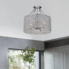 marya 4 light round drum semi flush mount crystal chandelier chrome finish