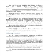 Venture Capital Investment Agreement Template Capital Investment