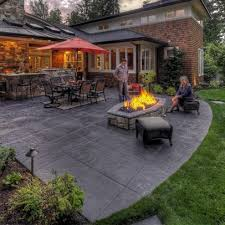 concrete patio designs with fire pit. Stamped Concrete Patio - Looks Like Large Pavers Designs With Fire Pit