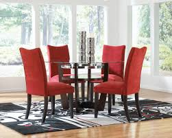 contemporary red velvet upholstered dining chair with espresso wooden legs and round gl dining table