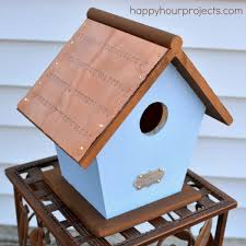hand stamped copper roof bird house
