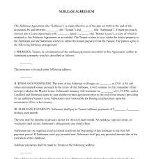 Sample Sublease Agreement Sublease Agreement
