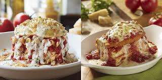 olive garden turns ravioli and en parm into lasagna and it looks beautiful