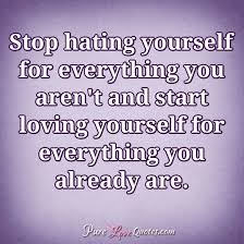 Quotes About Loving Yourself Impressive Stop Hating Yourself For Everything You Aren't And Start Loving