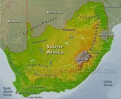 Güney Afrika fiziki haritası, Güney Afrika fiziki haritası Afrika (Güney  Afrika)özellikleri
