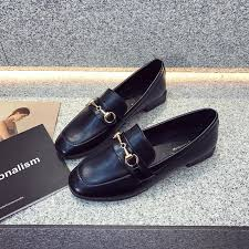 loafers female 2019 spring new style shoes female flat korean style england black small leather shoes