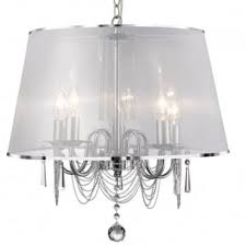 venetian 5 light ceiling pendant with white voile shade
