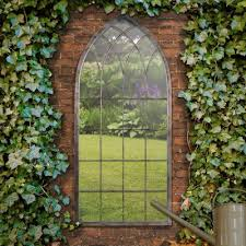 garden mirrors. Delighful Garden Tall Clover Metal Arch Garden Window Mirror Intended Mirrors E