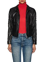 giorgio armani women s velvet trimmed leather jacket