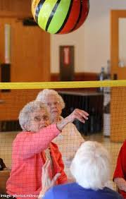 chair volleyball net. you can play volleyball at any age! these players lowered the net, used a lighter ball and sat in chairs. chair net