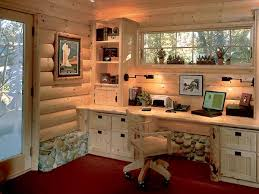 home office cabin. This Cabinlike Home Office Features A Pine Desk With Lots Of Storage. Real River Rocks Cabin