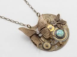 steampunk necklace pocket watch gears with opal swarovski crystal gold leaf erfly pendant necklace statement necklace