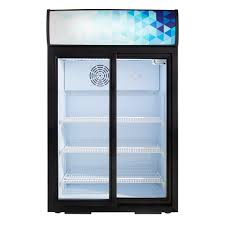 avantco csm 4 hc black countertop display refrigerator with sliding door and merchandising panel