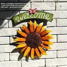 home garden metal sunflower welcome