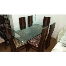 6 seater glass top dining table set