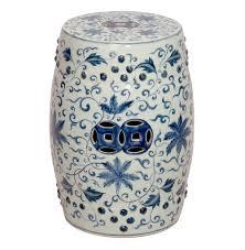 round blue and white lotus flowers ceramic garden stool seat kathy kuo home
