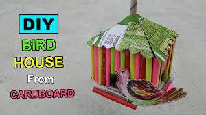 Diy Birdhouse Cardboard Craft Bird House Diy Crafts Ideas Youtube