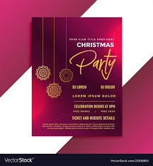 Template For Christmas Party Invitation Christmas Party Invitation Template Design Vector Image