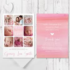 Printed Birth Announcement Multiple Photo Twin Or Baby Girl Birth Announcement Card In