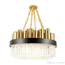 new modern round crystal chandelier high end gold electroplate iron led pendant lamp luxury hanging pendant lighting fixture for living room ceiling fan