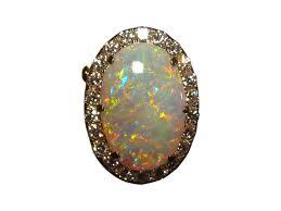 large crystal opal and diamond pendant brooch
