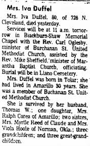 Iva May Tucker Duffel Obit - The Amarillo Globe-Times (Amarillo, Texas) p  18, Oct 31, 1977 - Newspapers.com