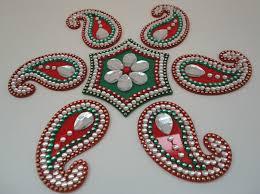 Kundan Rangoli Designs Small 7p Small Indian Red Green Kundan Rangoli Floor Wall Table
