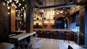 hospitality restaurant interior design bar industrial pendant display light  dark brick timber ply eclectic