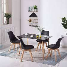 Hj Wedoo Rechteckig Esstisch Buchenholz Für 4 6 Stühle Esszimmertisch Küchentisch Mdf Schwarz 110 X 70 X 73 Cm