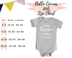 Bella Canvas 3001c Size Chart Bella Canvas 100b Size Guide Chart Baby One Piece Toddler Body Romper Suit Infant Mockup