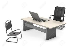 Laptop Chair Desk A Office With Table Chair Swivel Chair And Laptop White