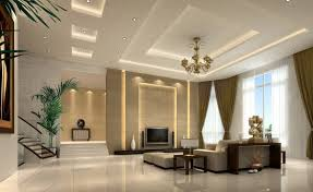 decorative gypsum board ceiling for living room with recessed lighting and antique ceiling lights as well as staircase using modern white flooring design