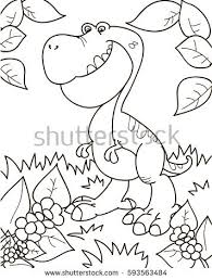 coloring page outline of cartoon dinosaur tyrannosaur vector ilration coloring book for kids