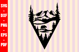 Convert pdf to svg online. Bear Wildlife Scene Silhouette Graphic By Creativeshohor Creative Fabrica