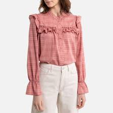 <b>Блузка</b> с воланами в <b>клетку</b> розовый в полоску <b>La Redoute</b> ...