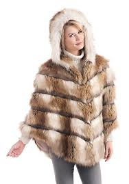 russian wolf hooded faux fur cape 1