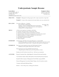 Resume Template For Undergraduate Student Oneswordnet