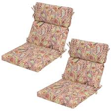 chili paisley outdoor dining chair cushion 2 pack