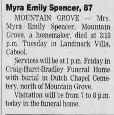 Obituary for Myra Emily Spencer (Aged 87) - Newspapers.com