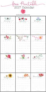 easy to print at home free pretty 2017 monthly printable calendar via homeicreate