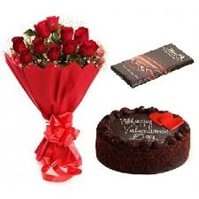 12 Roses With Chocolate Cake And Lindt Chocolate Birthday Gift Combo