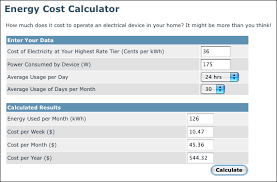 calculating energy usage how costs