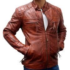 classic diamond biker style leather jacket